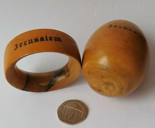 Vintage wooden darning egg from Jerusalem olive wood stand Israel Holy Land 3